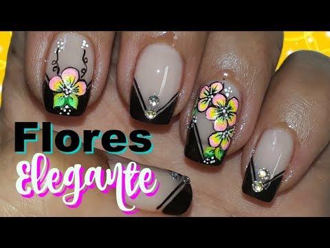 Decoraci n de u as flores f cil decoracion de u as en negro youtube - Decoracion facil de unas ...