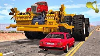 Huge Machines Of destruction (Huge wheels crush cars) BeamNG.Drive #2