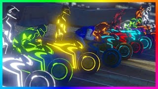 GTA ONLINE TRON DLC FREEMODE SPECIAL - RAINBOW SHOTARO CHALLENGE, EXPENSIVE NEON VEHICLES & MORE!