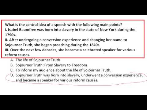 What is the central idea of a speech with the following main points