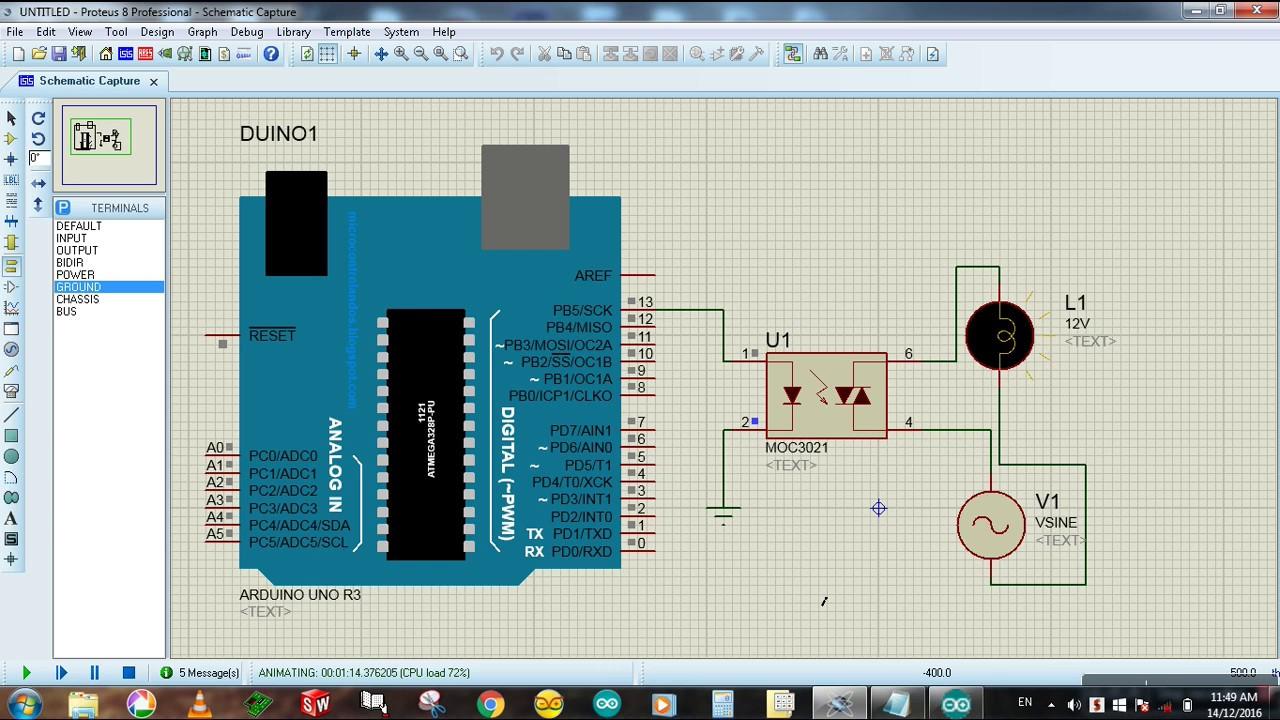 Arduino To Optocoupler Control Ac Lamp Proteus Simulation Diy 30 Watt Stereo Amplifier Circuit Gadgetronicx Tutorial 17