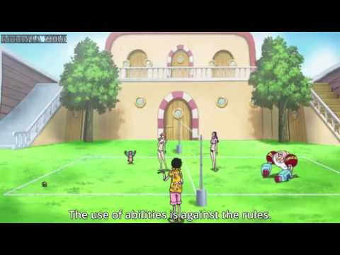 Nami and Robin playing volleyball One Piece Gold eng sub