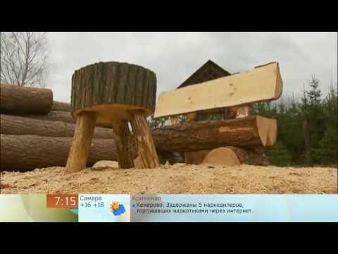 видео: Дачная мебель из одного бревна бензопилой