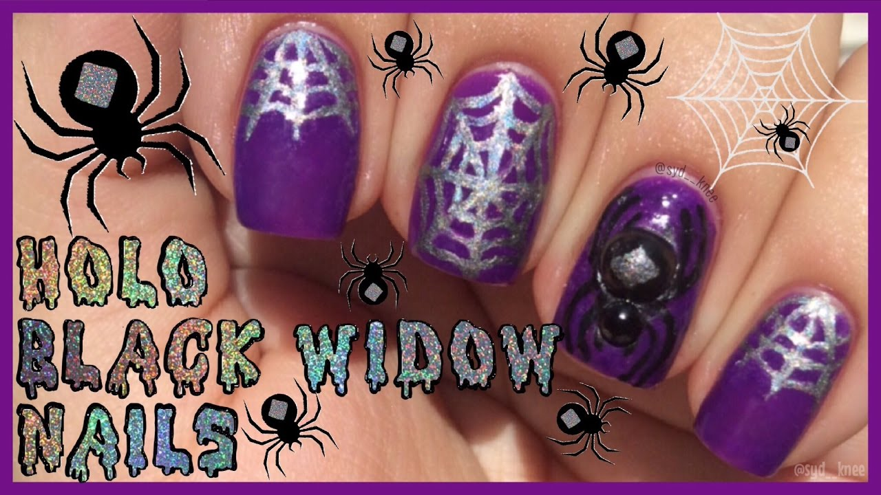 Holo Spider Webs & 3D Black Widow Nail Art Tutorial | Halloween ...