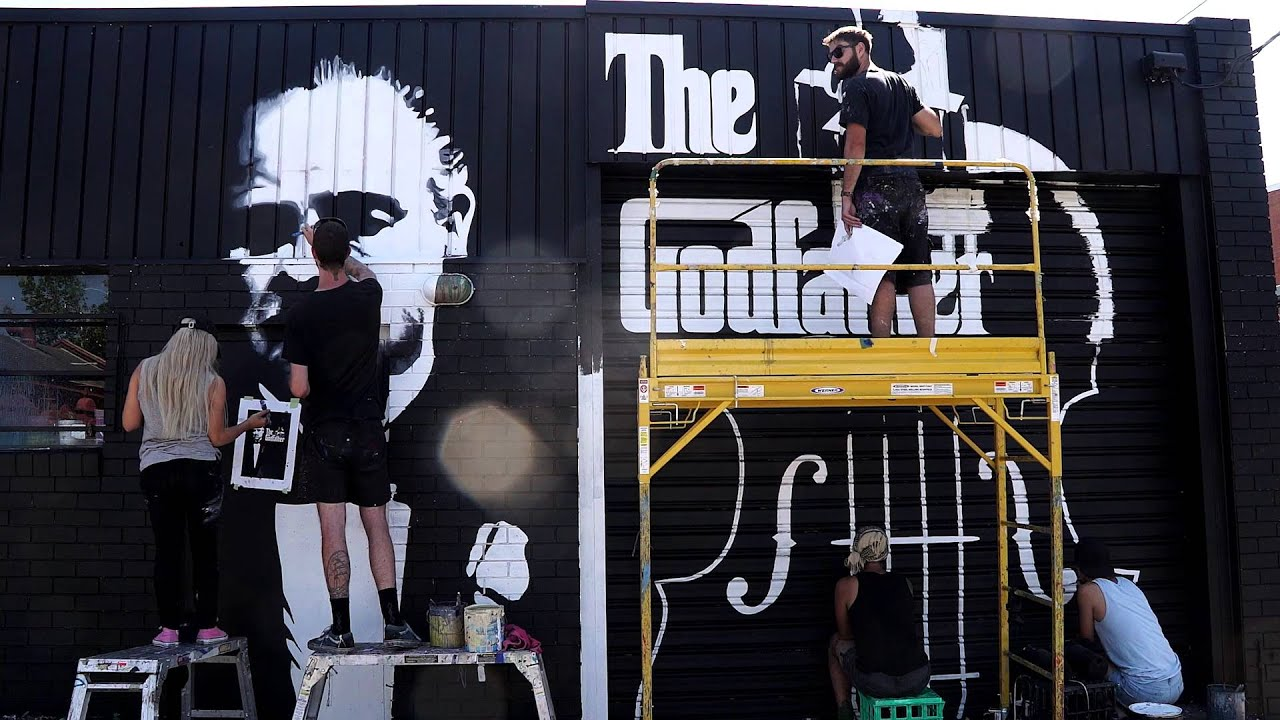 The godfather live in concert fitzroy wall mural youtube for Concert wall mural