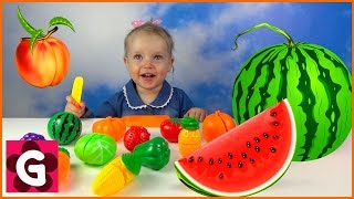GAby playing with VELCRO FOOD TOYS and Learning Names of Fruits and Vegetables