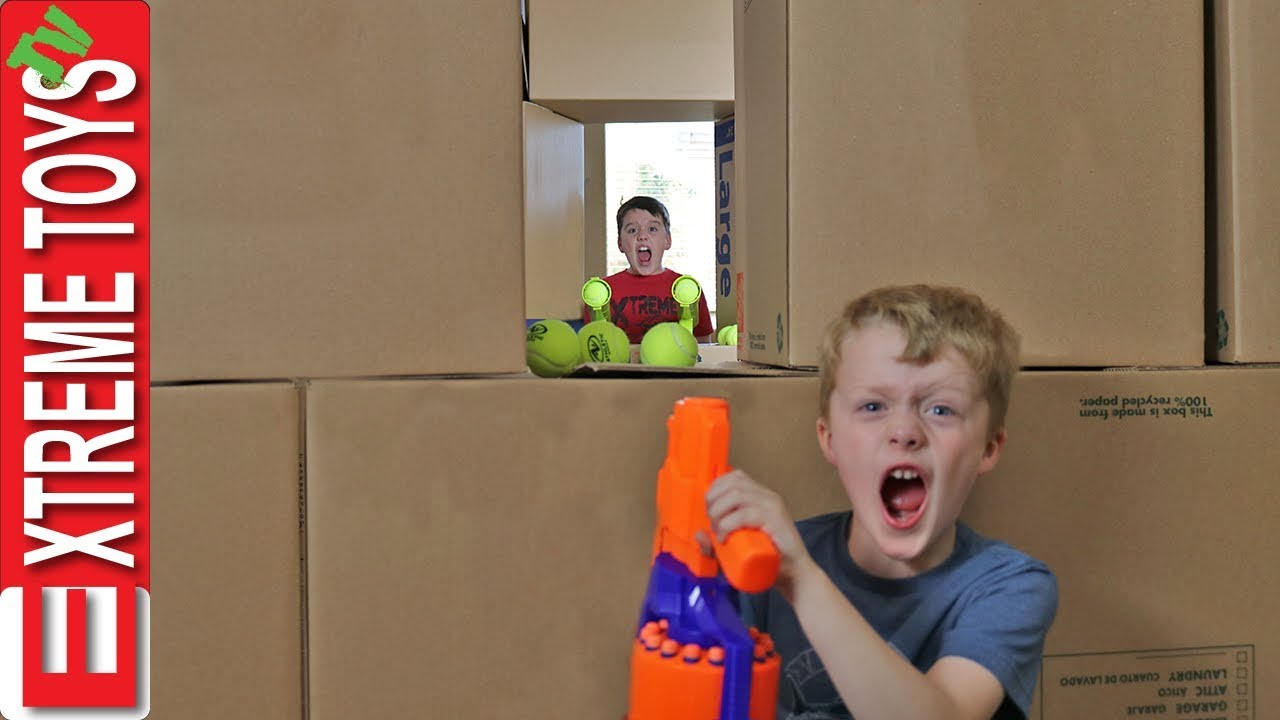 Attack the Castle! Ethan Vs. Cole Nerf Box Fort Battle! Part 2