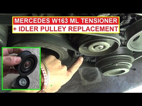 Mercedes ML W163 Tensioner Pulley and Idler Pulley Removal and Replacement ml320 ml430 ml350 ml500