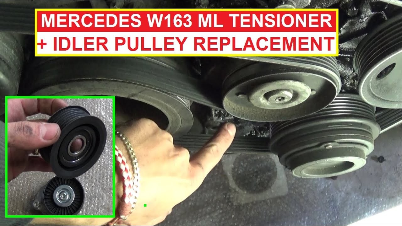 mercedes ml w163 tensioner pulley and idler pulley removal and replacement ml320 ml430 ml350 ml500 [ 1397 x 784 Pixel ]