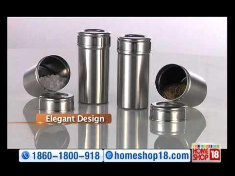 f4766ae4c HomeShop18 - Zain Stainless Steel 20 pc Storage Set - YouTube