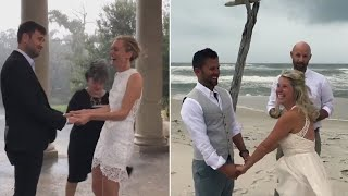 Bride and Groom Refuse to Let Hurricane Nate