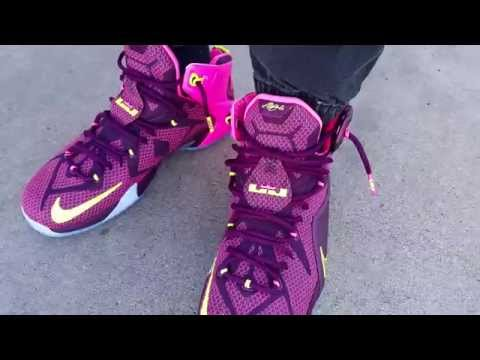 nike-lebron-12-xii-double-helix-crown-jewel-merlot/pink-on-feet-review-heaat!