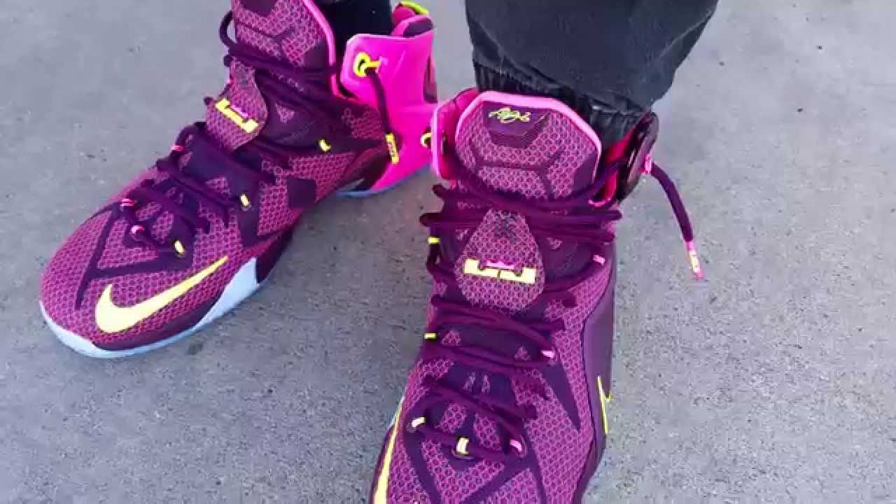 cheap for discount 603a8 e849c NIKE LEBRON 12 XII DOUBLE HELIX CROWN JEWEL MERLOT PINK ON FEET REVIEW  HEAAT! - YouTube