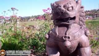 Stone, Foo Dog Statues, Shishi Chinese Guardian Lions Sculpture