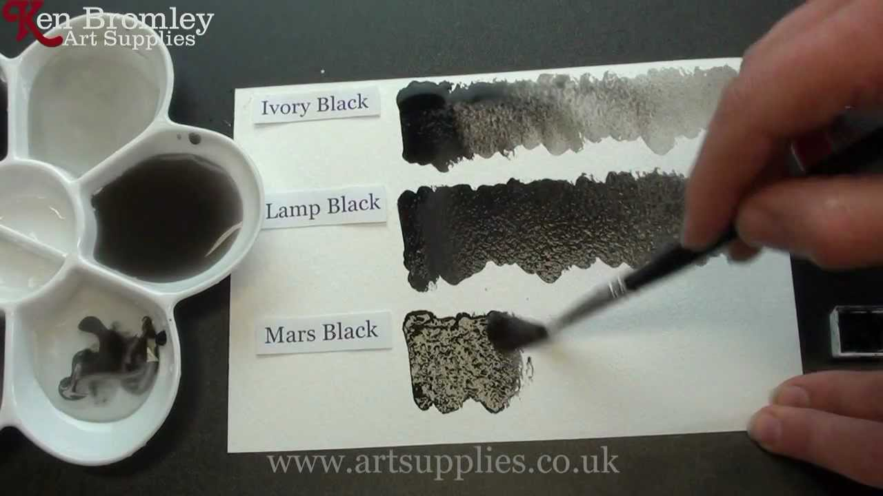 Winsor  Newton Artists Water Colour paint A Comparison of the blacks Ivory Lamp and Mars