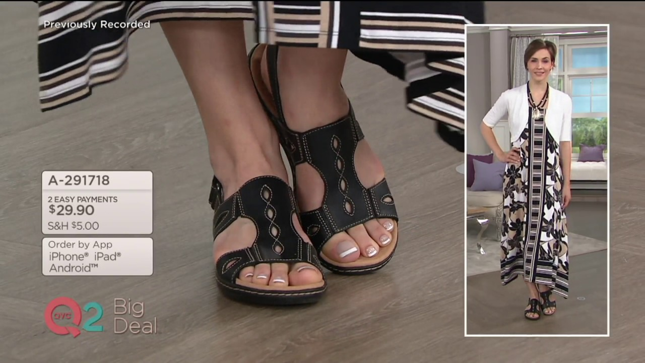 84fa8002a3d61 Clarks Leather Lightweight Sandals - Leisa Lakelyn on QVC