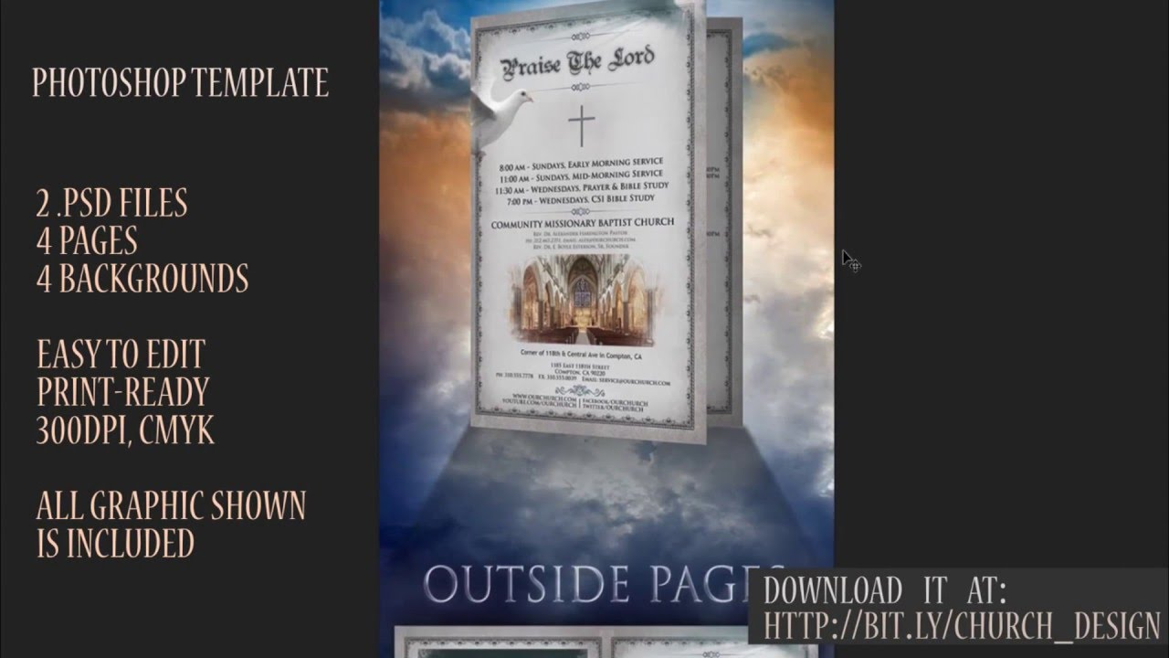 How To Design A Beautiful Church Program A Page Brochure - 2 page brochure template