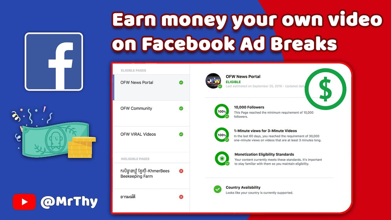 Earn money your own video on Facebook Ad Breaks