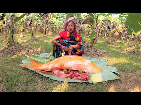 Beautiful Goldfish Curry Cooking | Gold Fish/Japani Ruho Jhol Recipe, Brinjal Chop For Village Kids