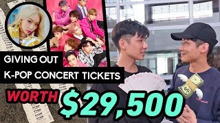 Giving K-Pop Concert Tickets (WORTH $29,500) to Strangers FOR FREE 😱 送陌生人免费K-Pop演唱会门票 (价值$ 29,500)