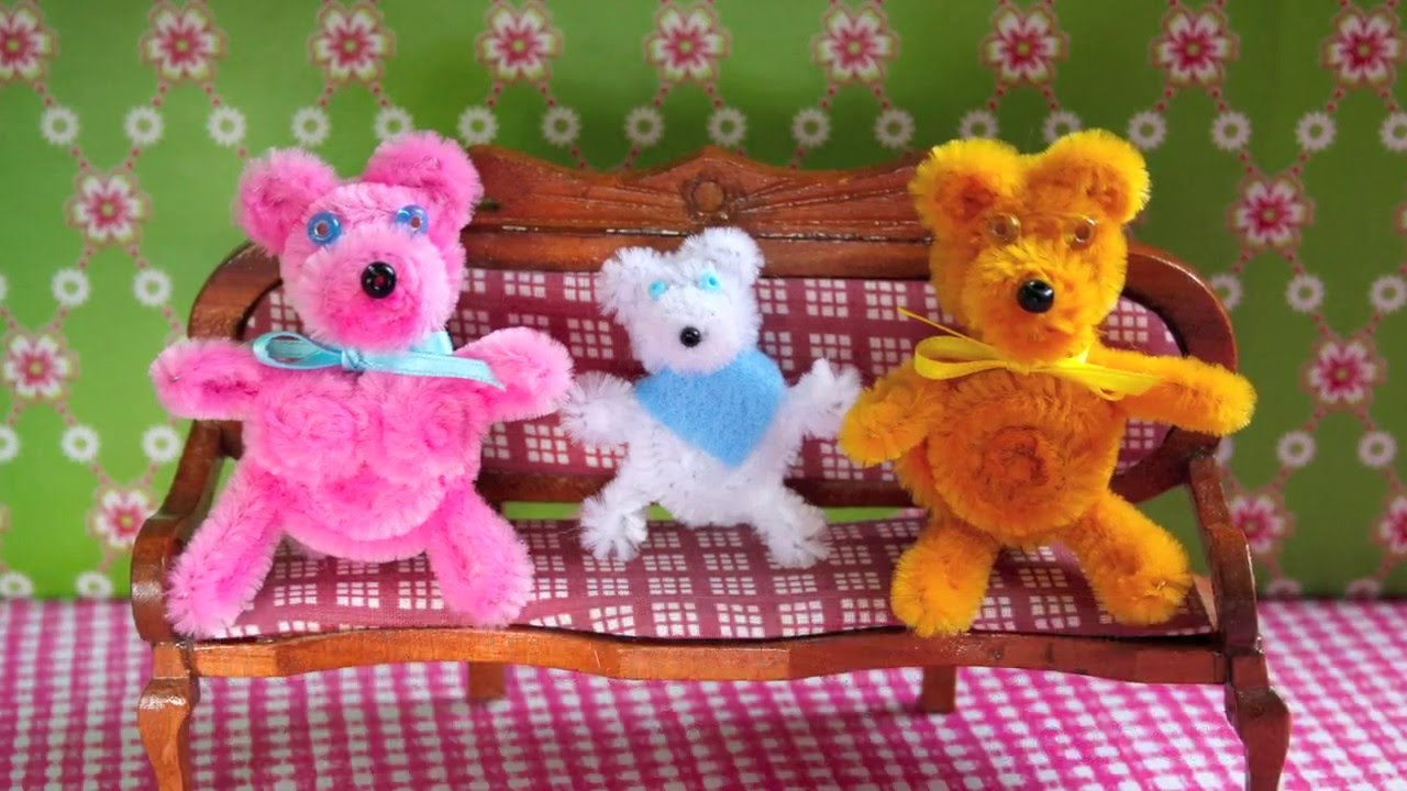 Baren Familie Aus Pfeifenputzern Pipe Cleaner Bear Family Youtube