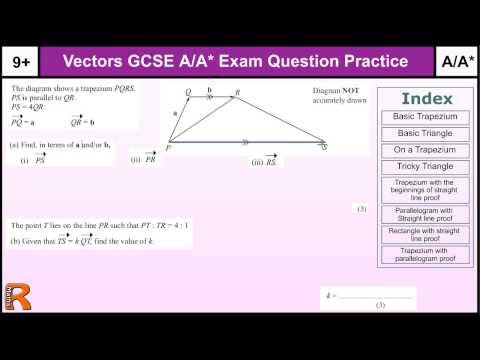 How to do Vectors A/A* GCSE Maths revision Higher level worked exam questions (inc straight lines)