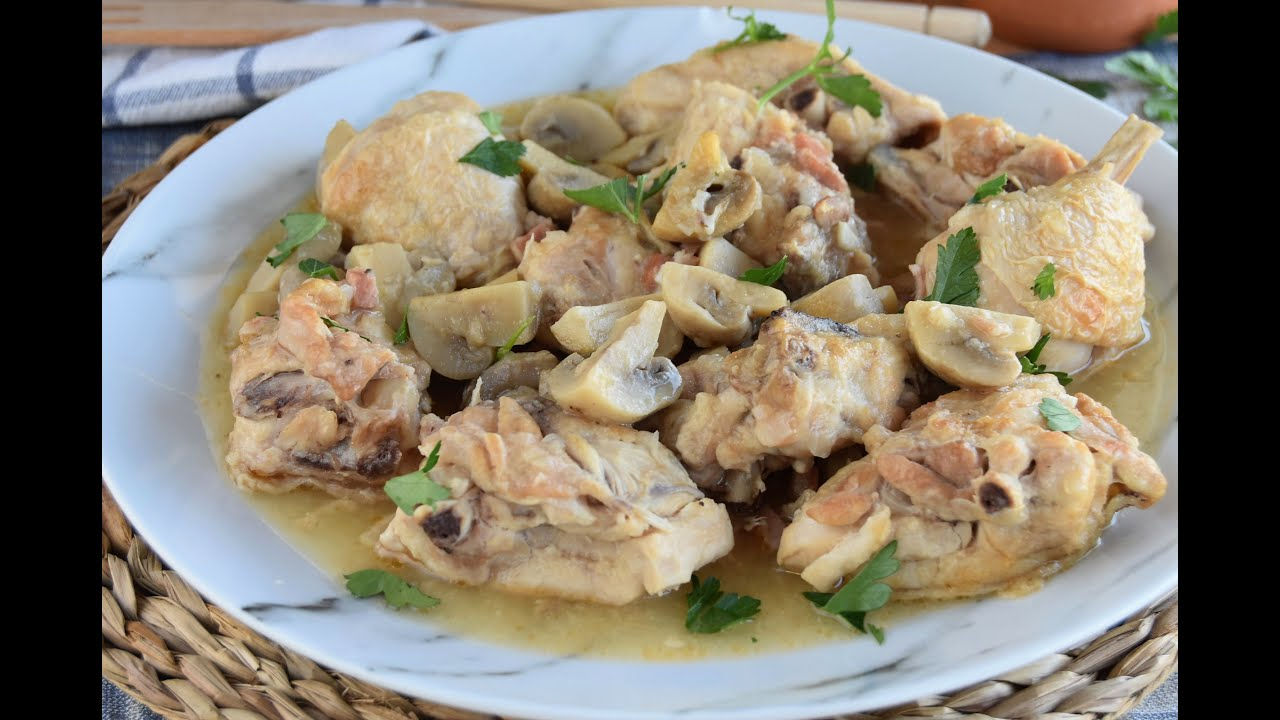 Guiso de pollo con champiñones FÁCIL Y SABROSO