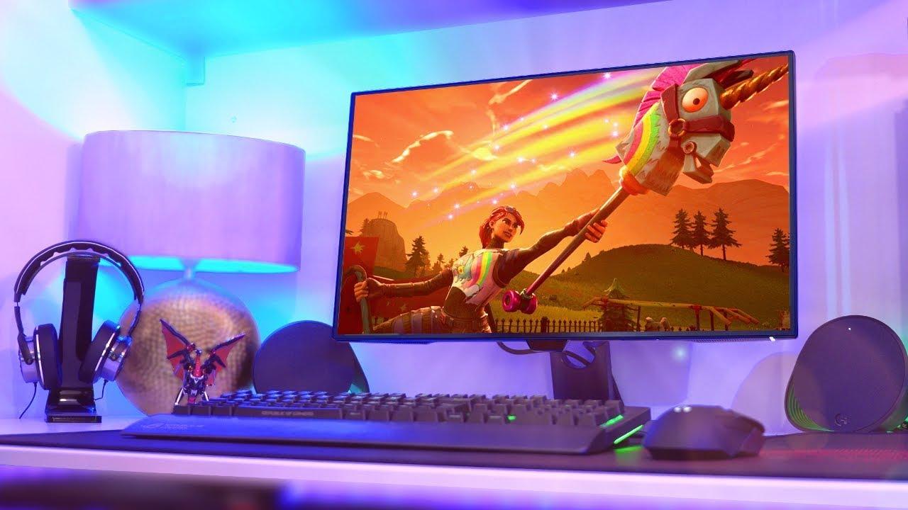 Massive Pc Gaming Setup 2018 1440p Fortnite Edition Youtube