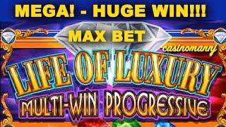 LIFE OF LUXURY PROGRESSIVE **HUGE WIN** *Raging Rhino (Casinomannj) - Slot Machine Bonus
