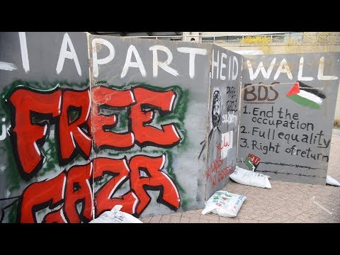 Students for Justice in Palestine build 'Apartheid wall' in Kogan Plaza