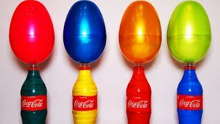 Learn Colors Big Surprise Eggs Coca Cola Toys - Video For Kids Toddlers Children Family Friendly