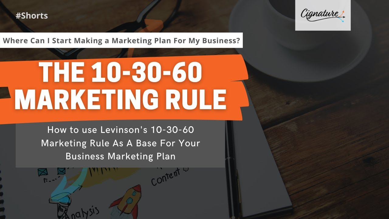 An Easy Place To Start Building a Marketing Plan For Your Business | Levinson's 10-30-60 Rule