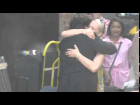 Sherlock Series 3 Filming Setlock: Benedict says hello to Amanda Abbington with a cute hug
