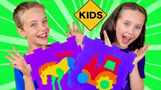 Learn English Colors! Animal Engine Floor Puzzles with Sign Post Kids!