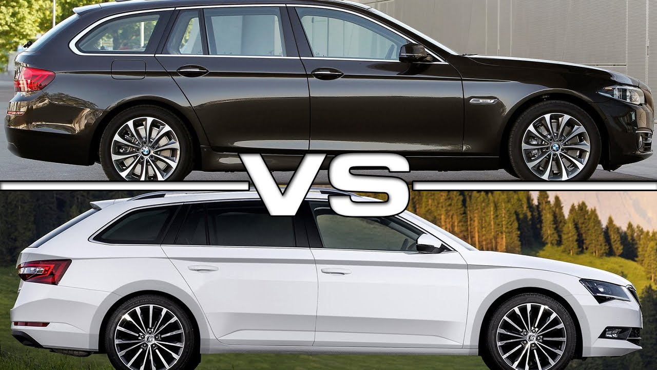 bmw 5 series touring vs skoda superb combi - youtube