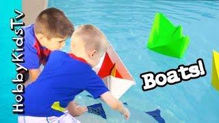 HobbyPig+HobbyFrog Make Hat Sail Boats Set Sail in Pool Water by HobbyKidsVids