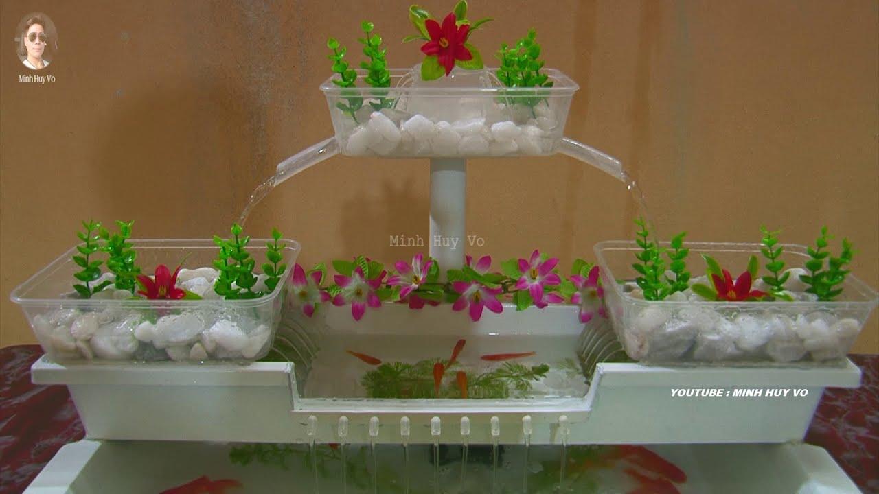 Bể Cá Mini – Tiểu Cảnh Thác Nước Làm Bằng Chậu Nhựa