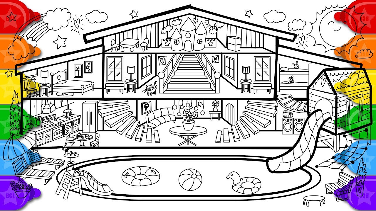 glitter pool house coloring and drawing for kids how to