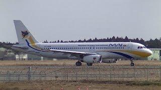 ✈Myanmar Airways A320 XY-AGM takeoff @Hyakuri Air Base / Ibaraki Airport rwy03L(ミャンマー/百里基地/茨城空港)
