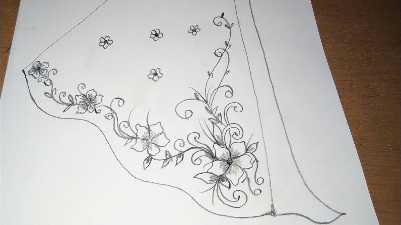 Sketsa Untuk Motif Rok Panjang Ber Ornamen Bordir Batik