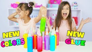 3 COLORS OF GLUE SLIME CHALLENGE! NEW GLUE COLORS  Emily and Evelyn