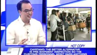 Cayetano asks Customs: Go after the bigwigs, not OFWs