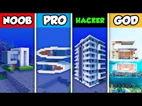 Minecraft NOOB Vs. PRO Vs. HACKER Vs GOD : LUXURY UNDERWATER HOUSE BUILD CHALLENGE In Minecraft!