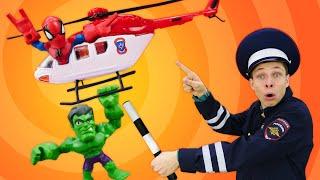 Игры гонки – Человек Паук и Халк гонятся за Альтроном! – Новые видео для мальчиков в Автомастерской