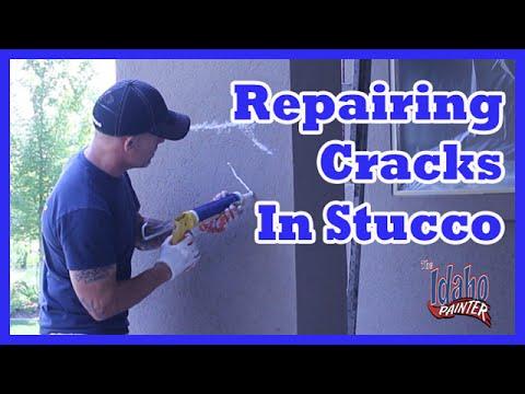 Painting Stucco Repairing Cracks With Caulking Elastomeric Paint