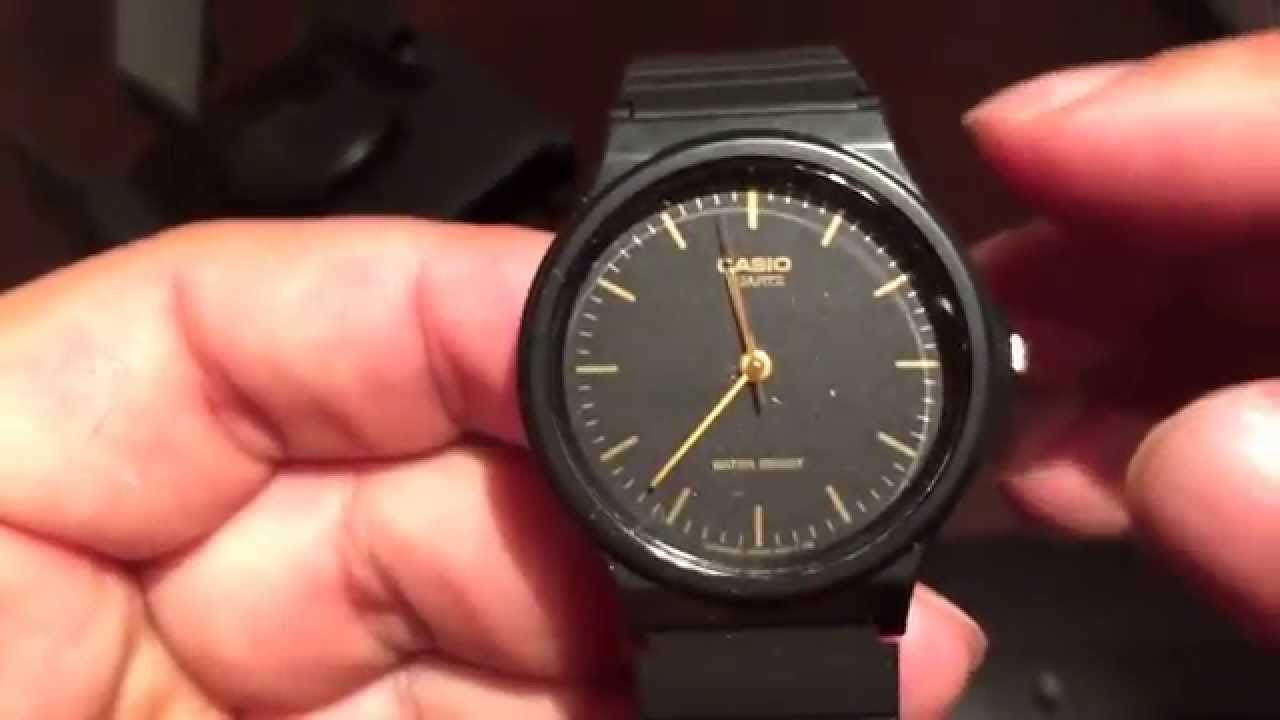 eaa931a14a20 Casio MQ24-1E black resin watch - YouTube