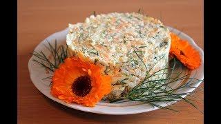 Салат из колбасного сыра с морковкой