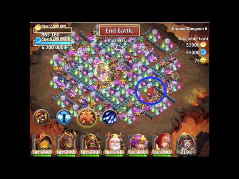 Castle Clash Insane Dungeon 6-6 With F2p Heroes
