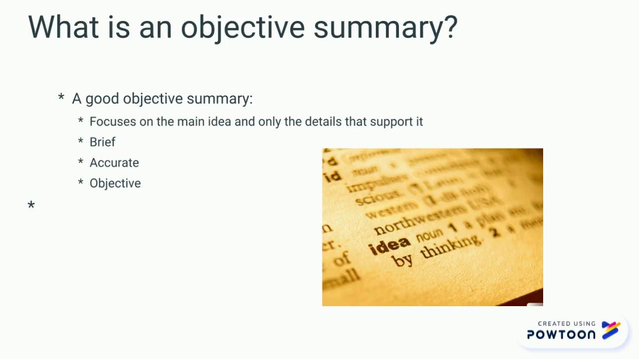 Writing an Objective Summary! - YouTube