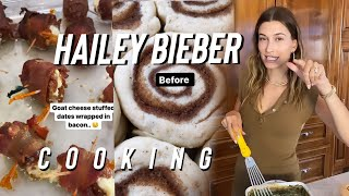 Hailey Bieber Cooking at Easter